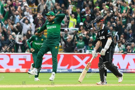 Wicket - Haris Sohail of Pakistan leaps in the air to celebrate the wicket of Kane Williamson of New Zealand dismissed by Shadab Khan of Pakistan during the ICC Cricket World Cup 2019 match between New Zealand and Pakistan at Edgbaston, Birmingham