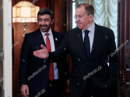 Russian Foreign Minister Sergei Lavrov (R) welcomes Minister of Foreign Affairs of United Arab Emirates Sheikh Abdullah bin Zayed Al Nahyan (L) at the Foreign Ministry Guest House in Moscow, Russia, 26 June 2019.