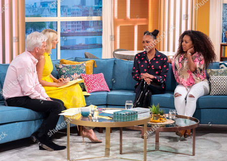 Phillip Schofield and Holly Willoughby with Melanie Brown and Danielle Brown
