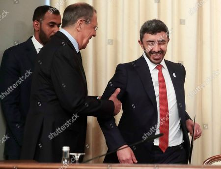 Russian Foreign Minister Sergei Lavrov (L) and United Arab Emirates Foreign Affairs Minister Sheikh Abdullah bin Zayed Al Nahyan (R) arrive for a joint press conference following their talks at the Foreign Ministry Guest House in Moscow, Russia, 26 June 2019.