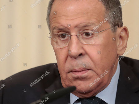 Russian Foreign Minister Sergei Lavrov attends a joint press conference with United Arab Emirates Foreign Affairs Minister Sheikh Al Nahyan following their talks at the Foreign Ministry Guest House in Moscow, Russia, 26 June 2019.