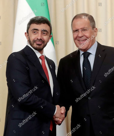 Russian Foreign Minister Sergei Lavrov (R) and United Arab Emirates Foreign Affairs Minister Sheikh Abdullah bin Zayed Al Nahyan (R) shake hands at the end of a joint press conference following their talks at the Foreign Ministry Guest House in Moscow, Russia, 26 June 2019.