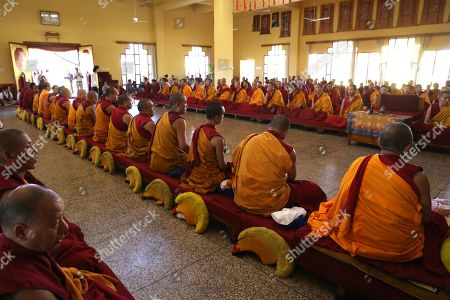 Buddhist monks take part in a prayer session as they celebrate the 34th birth anniversary of 17th Gyalwa Karmapa, Ogyen Trinley Dorje (not pictured), in Gyuto Monastery near Dharamsala, India, 26 June 2019. Gyalwa Karmapa, Ogyen Trinley Dorje is the third most important Tibetan religious head.