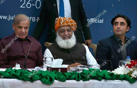 Stock Photo of Shahbaz Sharif Maulana Fazal-ur-Reman Bilawal Bhutto Zardari. Pakistan's opposition parties leaders, from left, Shahbaz Sharif, Maulana Fazal-ur-Rehman and Bilawal Bhutto Zardari, attend an all parties conference in Islamabad, Pakistan, . Opposition parties met in Islamabad to discuss strategy about ousting the government of Prime Minister Imran Khan over his alleged failure in handling the economy