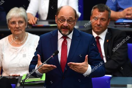 Former Social Democratic Party (SPD) chairman Martin Schulz ask a question durin a questions session at the German parliament 'Bundestag' in Berlin, Germany, 26 June 2019. Merkel attends on a regular basis inquiry sessions with the Members of Parliament