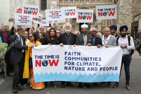 The walk went from Trafalgar Square via the Palace of Westminster to Church house, led by former Arch Bishop of Canterbury Rowan Williams and other faith leaders ahead of the Time is Now mass lobby for climate change.