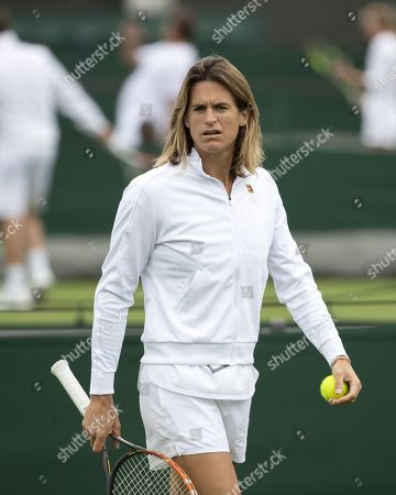 Amelie Mauresmo, former French tennis player and coach of French player Lucas Pouille, watches a training session at the All England Lawn Tennis Championships in Wimbledon, London, Britain, 26 June 2019. The Wimbledon Tennis Championships 2019 will be held in London from 01 July to 14 July 2019.