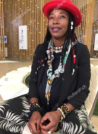 Fatoumata Diawara sits during an interview in Madrid, Spain, 26 June 2019. Fatoumata Diawara performed the previous day in the first edition of the 'World Music Madrid', where she presented her last album 'Fenfo'.