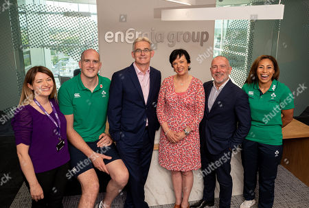 Stock Picture of Energia, one of Ireland's leading energy suppliers, today announced its official partnership with Irish Rugby Football Union (IRFU). This five-year partnership will see Energia become Official Energy Partner to Irish Rugby and title sponsor of both the Men's and Women's All Ireland League (AIL) competitions. Pictured at the announcement is Amy O'Shaughnessy (Marketing Acquisition & Sponsorship Manager), Devin Toner, Gary Ryan (Managing Director, Energia Retail), Oonagh Gildea (Marketing Acquisition & Sponsorship Manager), Ian Thom (Chief Executive, Energia) and Sene Naoupu