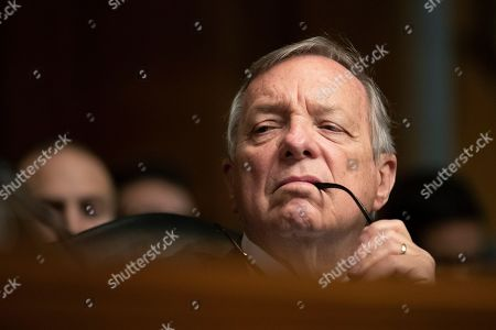 Senate Judiciary Committee member Sen. Dick Durbin,D-Ill., listens to witnesses during a Senate Judiciary Committee nominations hearing on Capitol Hill in Washington