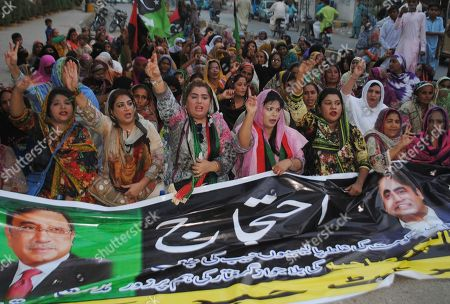 Stock Picture of Supporters of Pakistan's former President Asif Ali Zardari stage a protest against government to condemn the arrest of their leader, in Hyderabad, Pakistan, . A Pakistani court has handed over Zardari and his sister Faryal Talpur to a national anti-graft body for questions regarding a multi-million dollar money laundering case