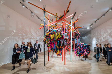 Stock Photo of A piece by Phyllida Barlow in the entrance