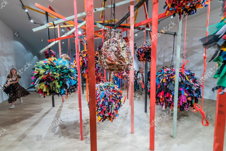 A piece by Phyllida Barlow in the entrance