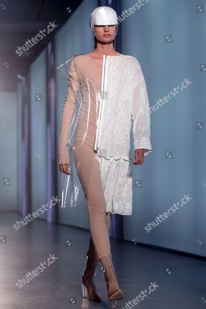 A model presents a creation by Spanish designer Txell Miras during the 080 Barcelona Fashion, in Barcelona, Spain, 26 June 2019. The fashion event runs from 25 to 28 June.