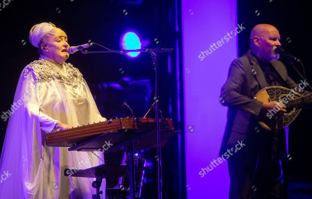 Stock Picture of Lisa Gerrard (L) and Brendan Perry of the Australian band Dead Can Dance perform during their concert at the Papp Laszlo Budapest Sports Arena, in Budapest, Hungary, 26 June 2019.