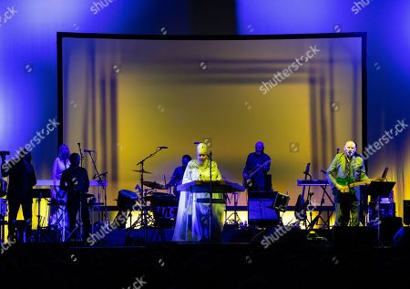 Lisa Gerrard (C) and Brendan Perry (R) of the Australian band Dead Can Dance perform during their concert at the Papp Laszlo Budapest Sports Arena, in Budapest, Hungary, 26 June 2019.