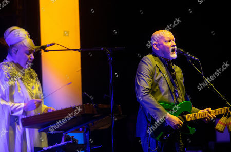 Lisa Gerrard (L) and Brendan Perry of the Australian band Dead Can Dance perform during their concert at the Papp Laszlo Budapest Sports Arena, in Budapest, Hungary, 26 June 2019.