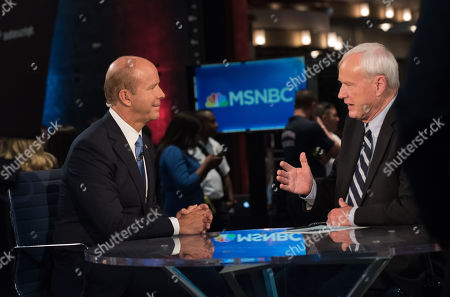 Rep. John Delaney speaks with Chris Matthews in the Spin Room after the First Democratic Debate in Miami at the Adrienne Arsht Center