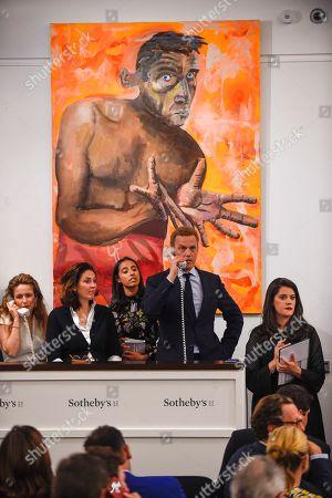 Selbstportrait Mit Leeren Händen Self-Portrait With Empty Hands by Albert Oehlen, Est. £4,000,000 - 6,000,000 sold for a hammer price of £5,300,000