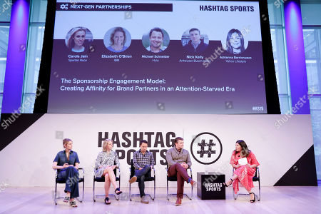 Carola Jain from Spartan Race, Elizabeth O'Brian from IBM, Michael Schneider from Hulu, Nick Kelly from Anheuser-Busch InBev and Adrianna Barrionuevo from Yahoo Lifestyle, at the Hashtag Sports event, at The Times Center on in New York