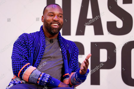Baron Davis from Baron Davis Enterprises, being interviewed on staged by Bonnie Bernstein, at the Hashtag Sports event, at the Hashtag Sports event, at The Times Center on in New York