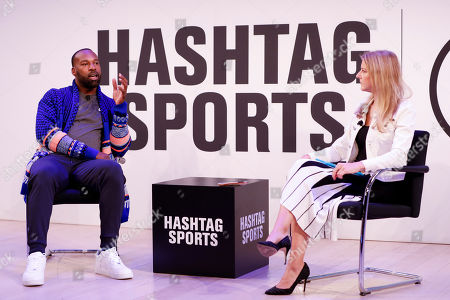 Baron Davis from Baron Davis Enterprises, being interviewed on staged by Bonnie Bernstein, at the Hashtag Sports event, at The Times Center on in New York