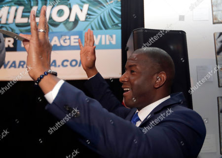 Former Florida Democratic gubernatorial candidate Andrew Gillum speaks during a watch party for the Democratic presidential debate, in Miami