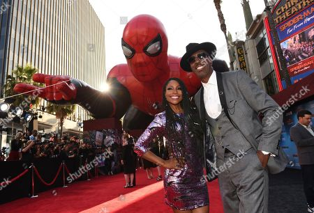 "Shahidah Omar, J.B. Smoove. Shahidah Omar, left, and J.B. Smoove arrive at the world premiere of ""Spider-Man: Far From Home"", at the TCL Chinese Theatre in Los Angeles"