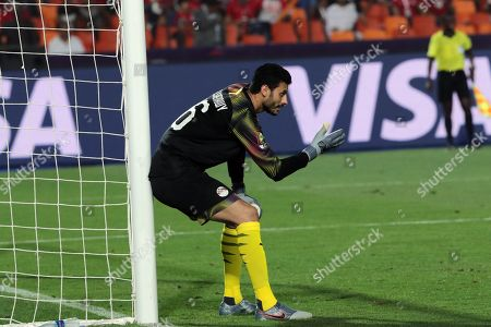 Egyptian goal keeper  Mohamed El-Shenawy directs his team  reats  during the match of the 2019 Africa Cup of Nations (AFCON) between Egypt  vs DR Congo's  at Cairo  Stadium in Cairo, Egypt, 26 June 2019. The 2019 Africa Cup of Nations (AFCON) will take place from 21 June until 19 July 2019 in Egypt.