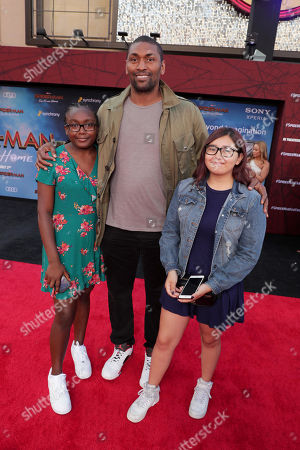 "Diamond Artest, Ron Artest and Sadie Artest at the World Premiere of Columbia Pictures' ""Spider-Man: Far From Home"" at the TCL Chinese Theatre."