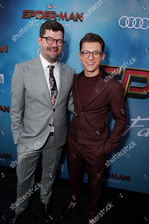 """Eric Hauserman Carroll, Executive Producer, and Tom Holland at the World Premiere of Columbia Pictures' """"Spider-Man: Far From Home"""" at the TCL Chinese Theatre."""