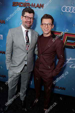 """Stock Picture of Eric Hauserman Carroll, Executive Producer, and Tom Holland at the World Premiere of Columbia Pictures' """"Spider-Man: Far From Home"""" at the TCL Chinese Theatre."""
