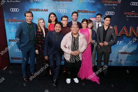 "Jake Gyllenhaal, Angourie Rice, Zendaya, Tony Revolori, Tom Holland, Jacob Batalon, Jon Watts, Writer/Director, Marisa Tomei, Amy Pascal, Producer, Eric Hauserman Carroll, Executive Producer, and Remy Hii at the World Premiere of Columbia Pictures' ""Spider-Man: Far From Home"" at the TCL Chinese Theatre."