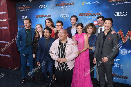 "Hollywood, CA Ð June 26, 2019: Jake Gyllenhaal, Angourie Rice, Zendaya, Tony Revolori, Tom Holland, Jacob Batalon, Jon Watts, Writer/Director, Marisa Tomei, Amy Pascal, Producer, Eric Hauserman Carroll, Executive Producer, and Remy Hii at the World Premiere of Columbia Pictures' ""Spider-Man: Far From Home"" at the TCL Chinese Theatre.ÊThe film is in theaters Tuesday, July 2nd. (Photo by Stewart Cook/for Sony Pictures/Shutterstock)"