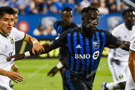 Look on Montreal Impact defender Bacary Sagna (33) during Portland Timbers at Montreal Impact game at Saputo Stadium in Montreal, QC