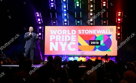 City Council Speaker Corey Johnson participates in the WorldPride NYC 2019 opening ceremony at the Barclays Center, in New York