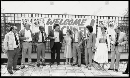 Labour Leader Michael Foot Meets Stars Of The Stage And Screen Who Support Labour At Astms Hq. Picture Shows L-r: Clive Jenkins Joss Ackland Larry Adler Colin Welland Jill Craigie (michael Foot's Wife Died Dec.1999) Michael Foot Maureen Lipman Unknown Neil Kinnock.