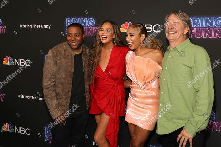 """Kenan Thompson, Chrissy Teigen, Amanda Seales, Jeff Foxworthy. Kenan Thompson, from left, Chrissy Teigen, Amanda Seales, and Jeff Foxworthy attend the """"Bring the Funny"""" premiere event at Rockwell Table and Stage, in Los Angeles"""