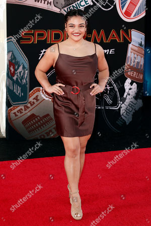 US gymnast Laurie Hernandez poses for photos on the red carpet prior to the premiere of 'Spider-Man: Far From Home' at the TLC Chinese Theater in Hollywood, California, USA, 26 June 2019. The movie will hit the theaters in the US on 02 June.