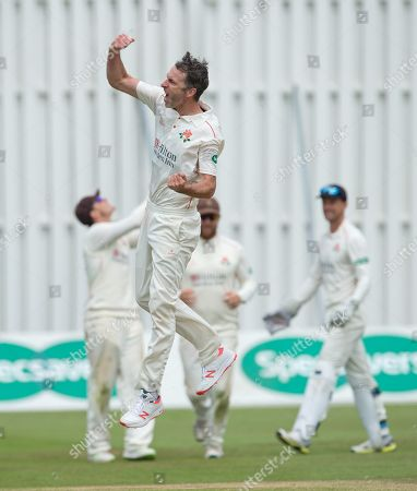 Graham Onions celebrates his fifth wicket