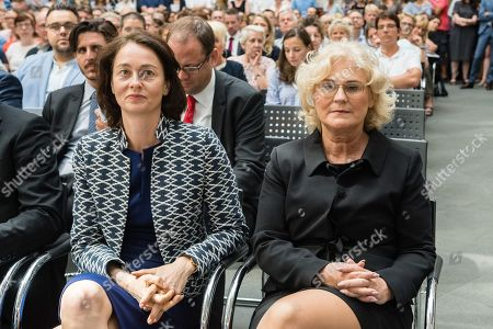 New minister of Justice Christine Lambrecht (R) and Former minister of Justice Katarina Barlay (L) during the official inauguration in the Federal Ministry in Berlin, Germany, 27 June 2019. Minister of Justice Christine Lambrecht takes over the office from her predecessor Katarina Barley, who will be committed to the European Parliament.