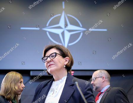 Italian Defense Minister Elisabetta Trenta at the start of a North Atlantic council meeting during NATO defense ministers meeting in Brussels, Belgium, 27 June 2019. NATO Defense ministers gather in Brussels on 26-27 June.