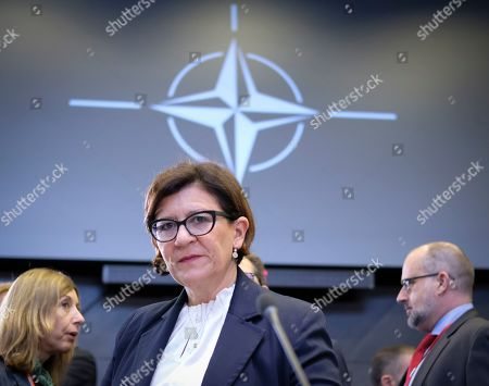 Stock Photo of Italian Defense Minister Elisabetta Trenta at the start of a North Atlantic council meeting during NATO defense ministers meeting in Brussels, Belgium, 27 June 2019. NATO Defense ministers gather in Brussels on 26-27 June.