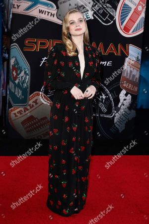 Angourie Rice poses for the photographers on the red carpet prior to the premiere of 'Spider-Man: Far From Home' at the TLC Chinese Theater in Hollywood, California, USA, 26 June 2019. The movie will hit the theaters in the US on 02 June.