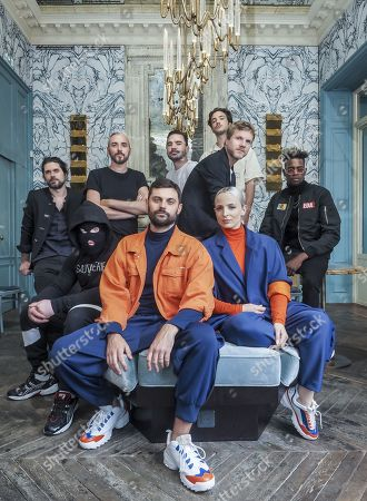 Stock Picture of Jean-Karl Lucas and Emilie Satt with band members Kyo, Kalash Criminel, Christophe Willem, Lord Esperenza and Kpoint