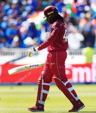 Chris Gayle of West Indies looks dejected after losing his wicket