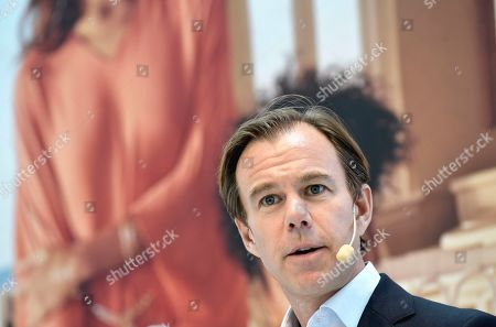 Swedish retailer Hennes and Mauritz AB chief executive officer (CEO) and president Karl-Johan Persson present the company's sales report during a press conference in Stockholm, Sweden, 27 June  2019.