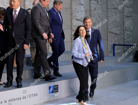 Spanish Defense Minister Margarita Robles (2-R) and Slovenia Defense minister Karl Erjavec during a family picture on the side of NATO defense ministers meeting in Brussels, Belgium, 27 June 2019. NATO Defense ministers gather in Brussels on 26-27 June 2019.