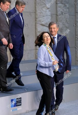 Stock Photo of Spanish Defense Minister Margarita Robles (2-R) and Slovenia Defense Minister Karl Erjavec during a family picture on the side of NATO defense ministers meeting in Brussels, Belgium, 27 June 2019. NATO Defense ministers gather in Brussels on 26-27 June 2019.