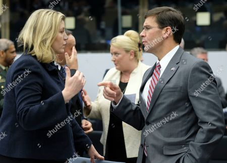 British Defense Secretary Penny Mordaunt and Acting US Secretary for Defense Mark Esper (R) during NATO defense ministers meeting in Brussels, Belgium, 27 June 2019. NATO Defense ministers gather in Brussels on 26-27 June 2019.